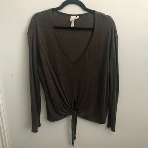 H&M Linen Olive Green Tied Long Sleeve
